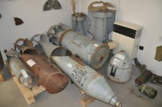 Inerted and used aerial bombs: a P-50Sh practice bomb, AgitAB-250-85 agitaton material dispenser, RBK-250-275 and RBK-500 submunition bombs, SAB-250T flare bomb and AgitAB-500-300 agitaton material dispenser. These are just a small part what is on display in these rooms.
