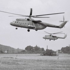 Mi-6's of the Kalocsa-based helicopter regiment on a joint Warsaw PAct excercise in 1984.    (1984)...