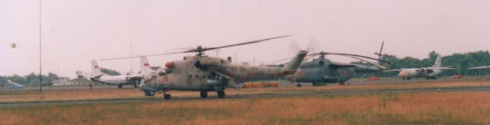 Mi-24P of of 488. helicopter regiment in front of Mi-6VKP and An-26 of 201. mixed squadron on Tököl airbase (summer of 1990)