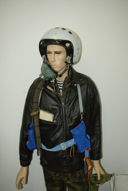 Soviet pilot in camouflage summer suit, leather jacket and ZSh-7AP helmet